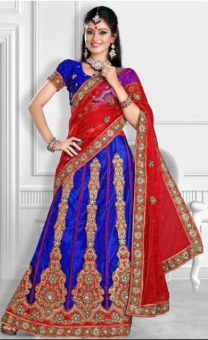 Red and Blue Lehenga Style Saree