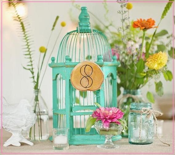 Aqua birdcage + old mason jars + simple seasonal flowers = FUN & EASY TABLE CENTERPIECE!