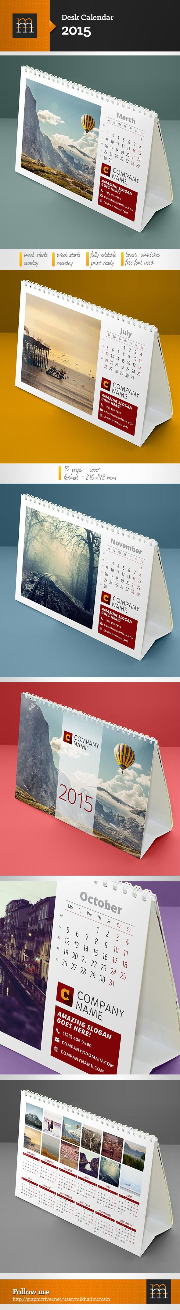Desk Calendar 2015 on Behance