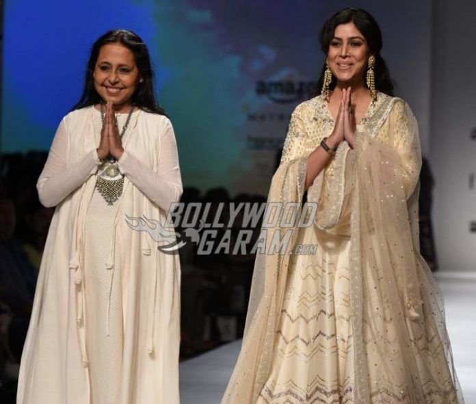 Sakshi Tanwar and designer Anju Modi on Day 3 of the Amazon India Fashion Week Autumn/Winter 2017