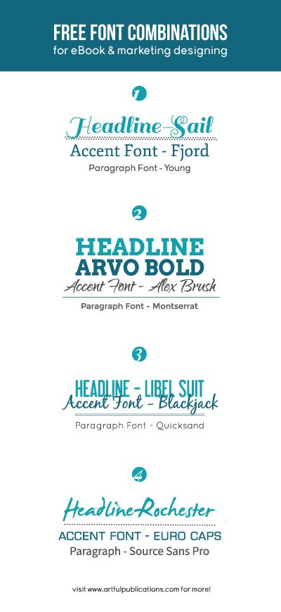 Free Font Combinations - find the right font scheme for your eBook, website, or design project. (Click through to download the fonts, free!)