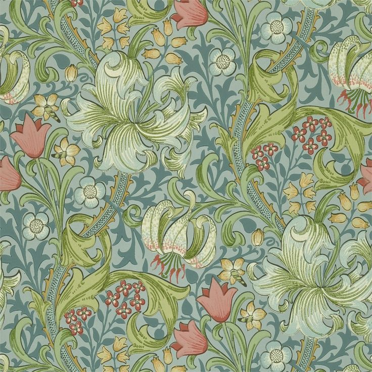 The Original Morris & Co - Arts and crafts, fabrics and wallpaper designs by William Morris & Company | Products | British/UK Fabrics and Wallpapers | Golden Lily (DMCW210430) | Morris Wallpaper Compendium II