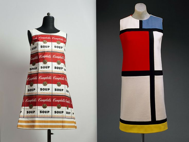 "Andy Warhol, Souper Dress (1964) Piet Mondrian, ""Mondrian"" Day Dress (1965) luv them! <3"