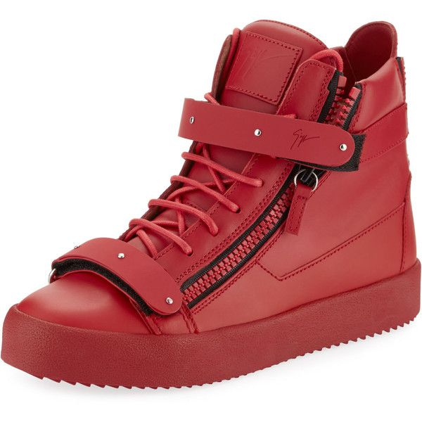 Giuseppe Zanotti Men's Smooth Leather High-Top Sneaker ($407) ❤ liked on Polyvore featuring men's fashion, men's shoes, men's sneakers, red, mens red high top sneakers, mens hi top sneakers, mens hi tops, mens red shoes and mens platform sneakers