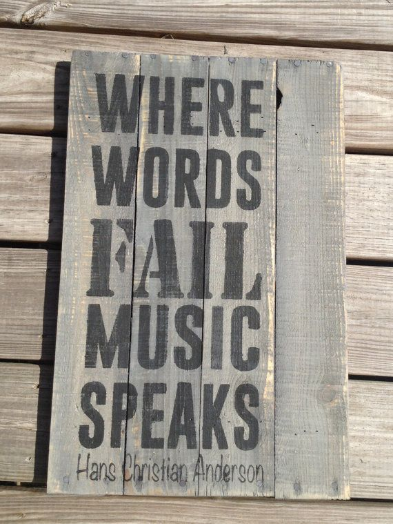Where Words Fail Music Speaks, Guitar, Pallet Sign, Primitive, Wooden Signs, Distressed, Music Teacher, Gifts on Etsy, $35.00
