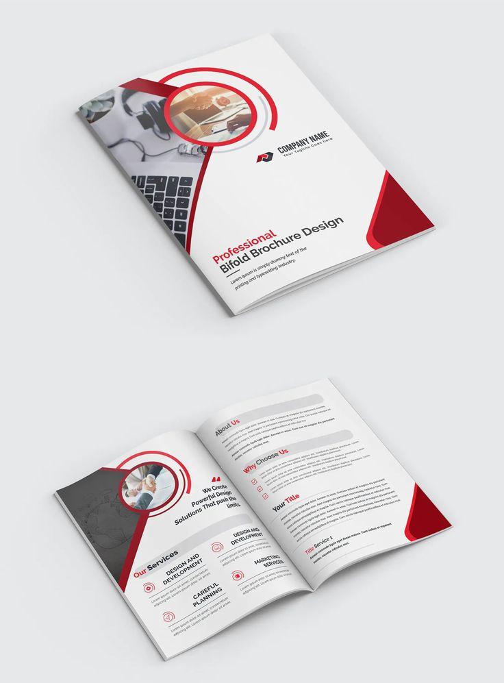 Bifold Brochure Layout Vector EPS in 2020 Brochure