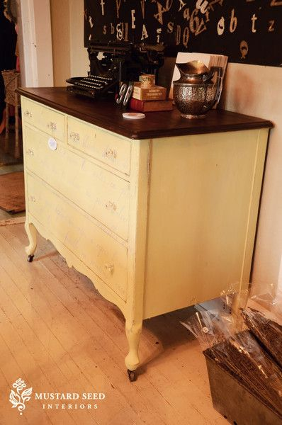 Miss Mustard Seed: Stenciled French Poem Dresser | Royal Design Studio
