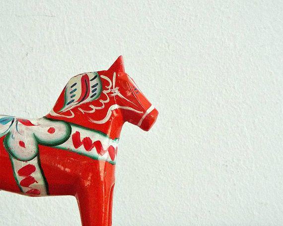 WOODEN DALA HORSE - scandinavian miniature, mini red orange horse, handpainted, arts and crafts, Sweden, souvenir