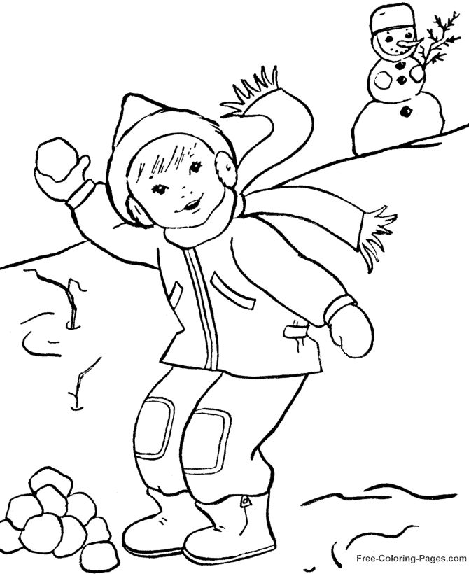 winter coloring sheets snowball fun