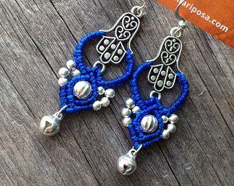 Macrame earrings endless knot antique brass by creationsmariposa