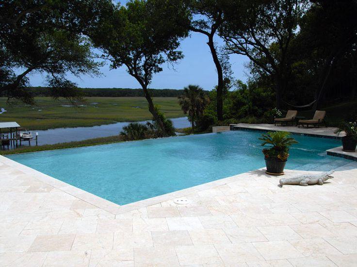 Marble Pool Decks : Shell stone travertine pool deck marble
