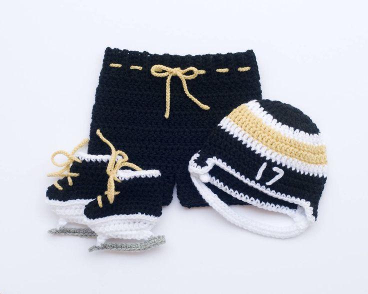 BABY BOYS HOCKEY Baby Crochet Hockey, Crochet Hockey Outfit, Black Gold Hockey, Knit Baby Hockey Hat, Hockey Baby Skates, Newborn Hockey Boy by Grandmabilt on Etsy