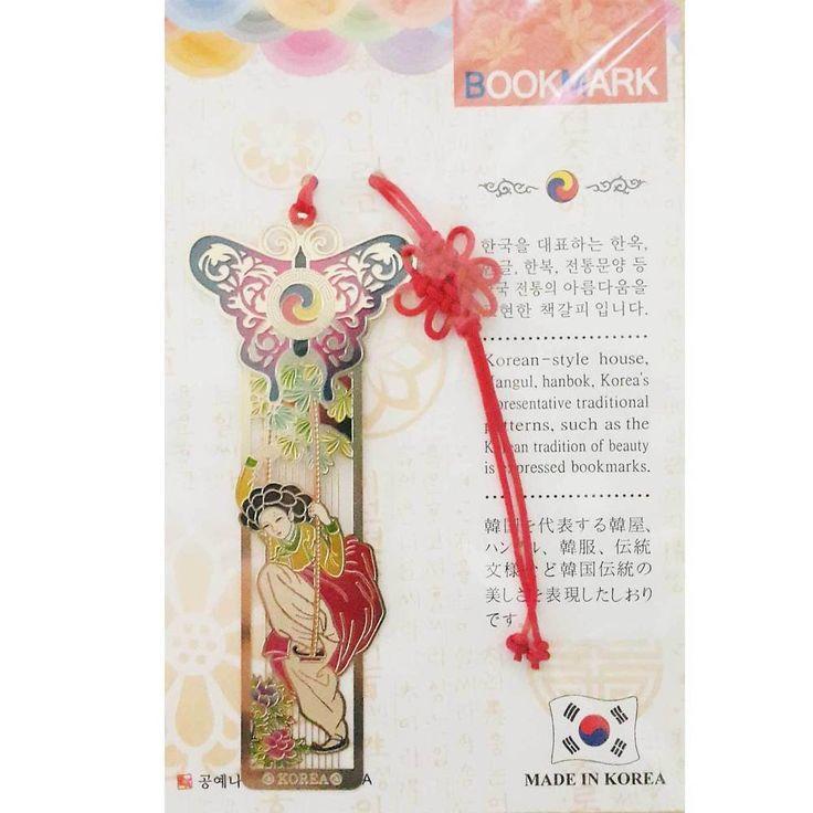 Traditional Korean Metal Bookmark Woman Hanbok Book