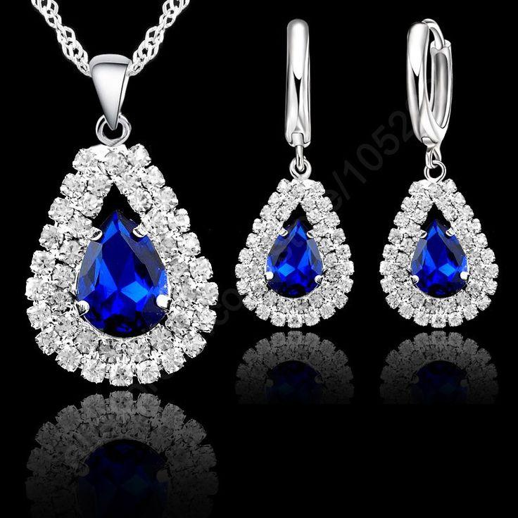 """Barato 925 prata conjunto de jóias azul cristal austríaco colar pingente 18 """" cadeia do brinco de argola mulheres acessórios, Compro Qualidade Tintas de impressão diretamente de fornecedores da China:                                                     Colar tamanho: 18pol"""