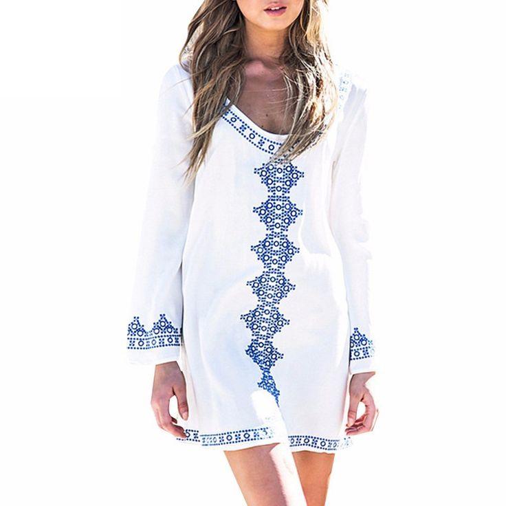 Summer Embroidery Long Sleeve Beach Dress Bathing Suit Cover Ups Swimwear