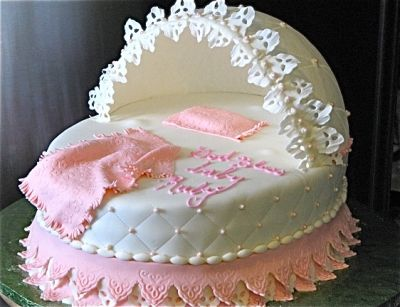 Bassinet Baby Shower cake By SharonK1973 on CakeCentral.com