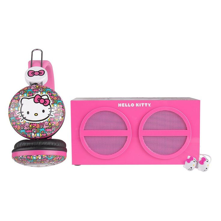 Hello Kitty 3-Piece Stereo Speaker & Headphone Set by Sakar, Multicolor