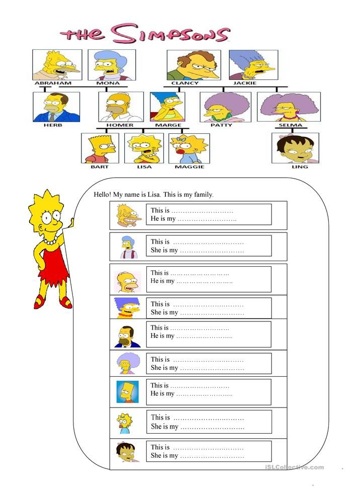 family members | Exercice anglais, Anglais 6ème, Éducation