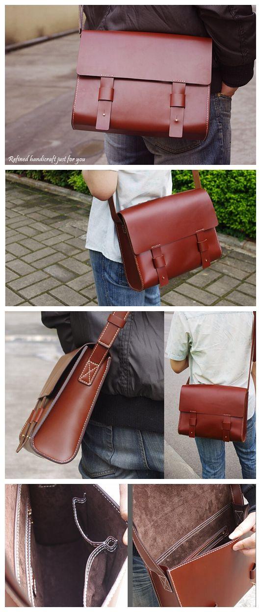 Custom Handmade Leather Messenger Bag Shoulder Bag Leather Satchel Bag