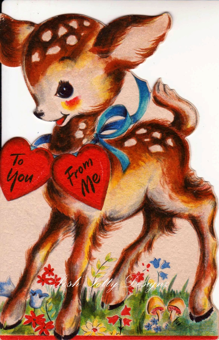 32 best Vintage valentine Cards  Deers Moose  Camels images on