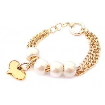 Pulsera con Cadena de Aluminio, Perlas y Dije de Corazón