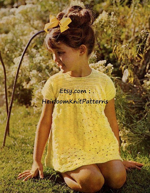 Baby Toddler Girls Dress Vintage Crochet Pattern Girls Crochet Pattern 1-3yrs Crochet Dress Pattern Instant download PDF Pattern - 2014