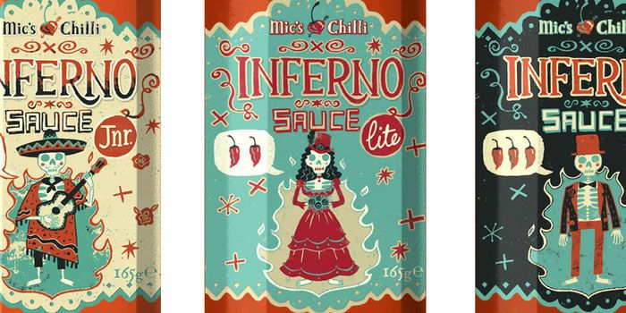Line of bbq and chill sauces designed and illustrated by Steve Simpson.