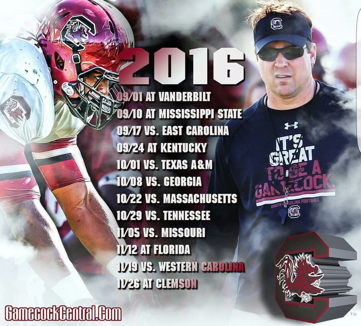 2016 Schedule Mississippi state, Usc gamecocks, East