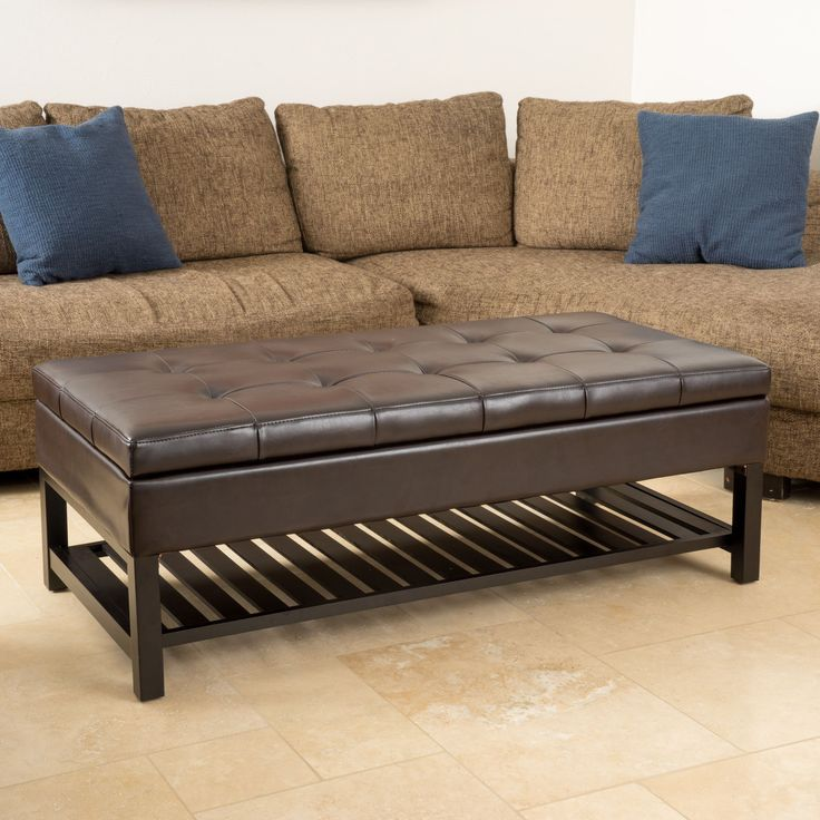 Miriam Wood Rectangle Storage Ottoman Bench with