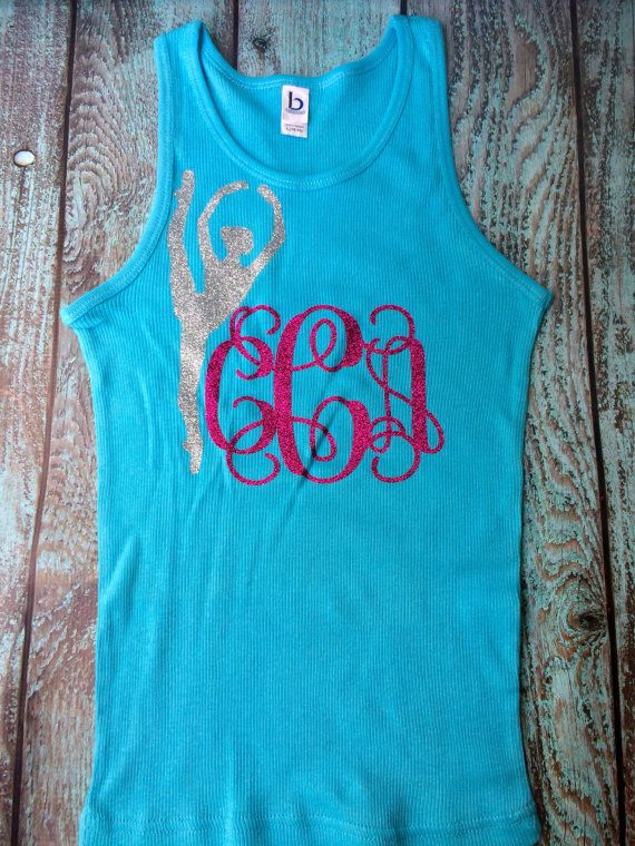 Monogrammed Tank top Glitter Monogrammed Top by PoshPrincessBows1