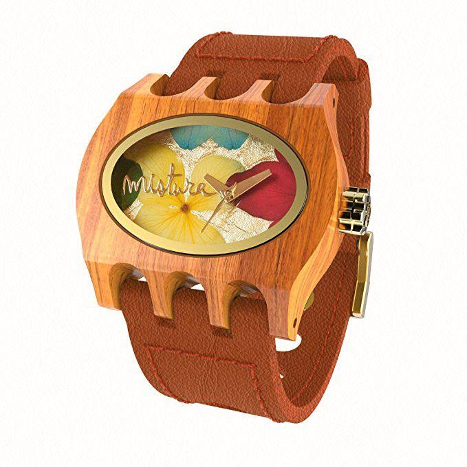 Mistura Kamera Women's Watch Orange Band Multicolor Dial Gold-Tone Hands