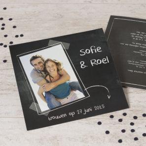Hippe fotokaart in krijtbord | Tadaaz #wedding #announcement #krijtbord #foto