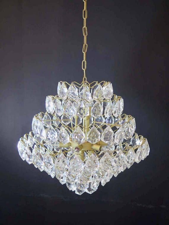 Lampadario Gocce Cristallo Anni 60.1960s Italian Vintage Crystal Chandelier Gaetano Sciolari