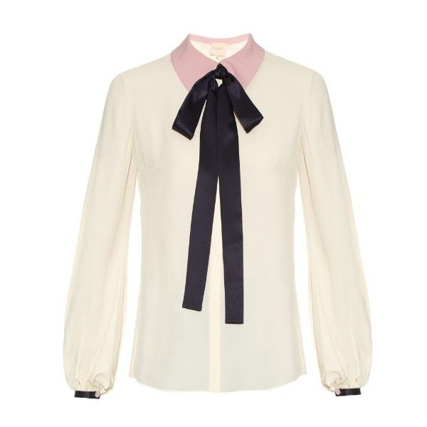 Roksanda Kellaway neck-tie crepe blouse ($850) ❤ liked on Polyvore featuring tops, blouses, cream multi, neck tie blouse, neck-tie, necktie blouse, cream top and white crepe blouse
