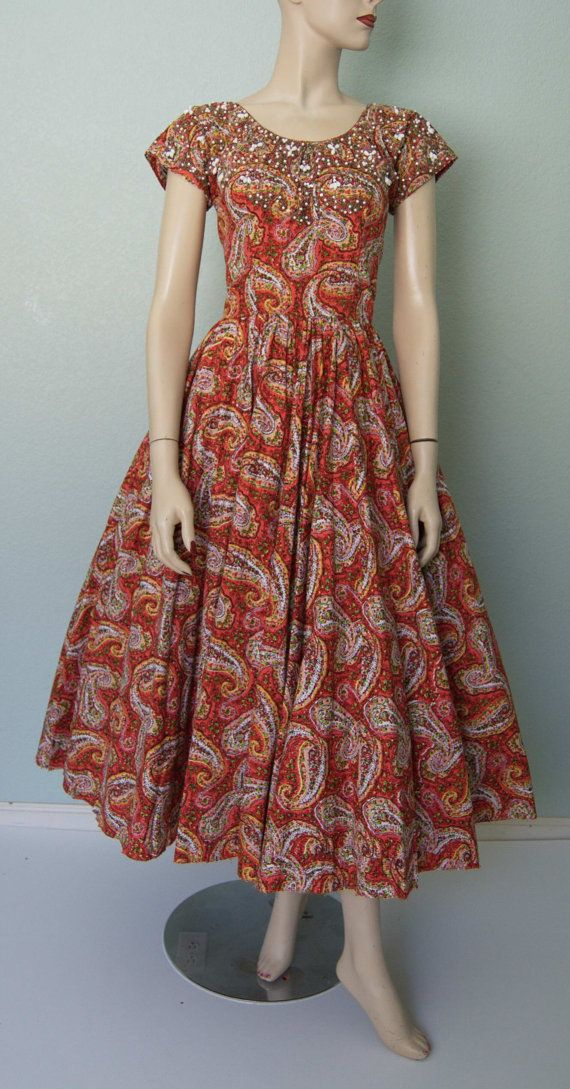 1950s Ben Reig Cotton Paisley New Look Dress  by KittyGirlVintage, $155.00