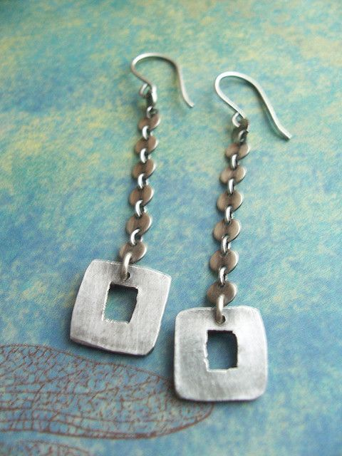 Funky Silver Square Earrings | Flickr - Photo Sharing!