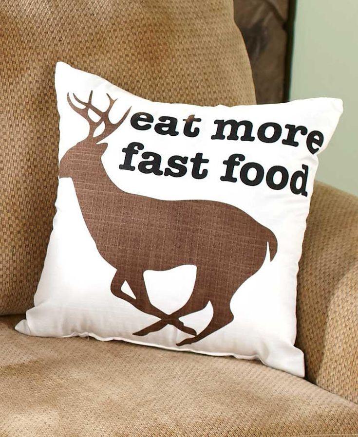 Humorous Hunters Cabin Lodge Remington FAST FOOD Deer Pillow 16 sq. NEW #Remington
