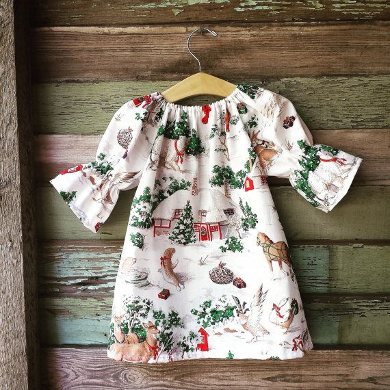 Girls Christmas Dress Winter Dress Nightgown by ShelbyJaneandCo