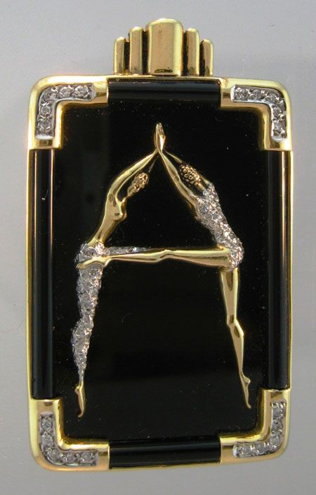 "Art Deco Erte ""A"" Diamond, Yellow Gold and Black Enamel Pin"