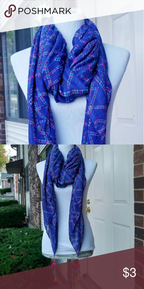 Blue scarf with tassles Nice. Light weight. Very gorgeous on. Accessories Scarves & Wraps