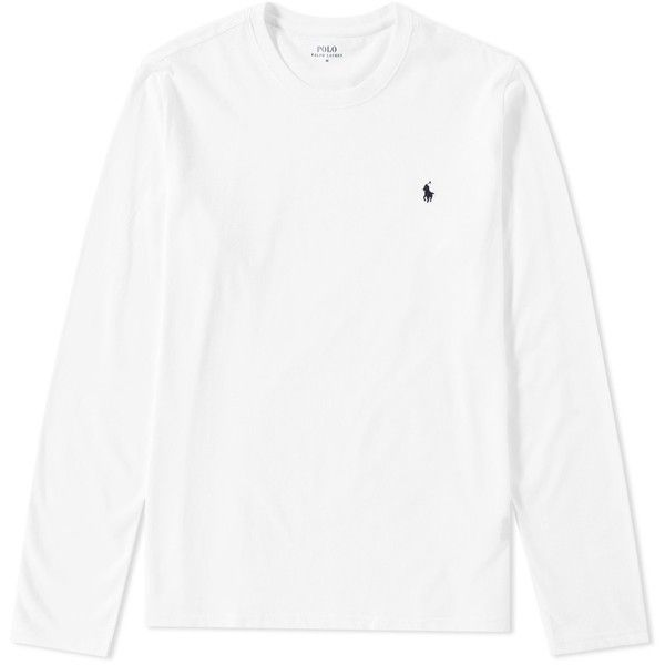 Polo Ralph Lauren Long Sleeve Crew Neck Tee ($59) ❤ liked on Polyvore featuring men's fashion, men's clothing, men's shirts, men's t-shirts, men's cotton polo shirts, mens crew neck t shirts, mens longsleeve shirts, mens cotton t shirts and mens cotton shirts