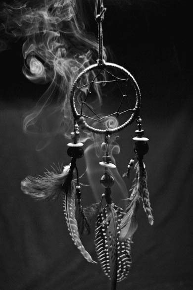 Dreamcatcher black white smoke peace pipe incense dreams native