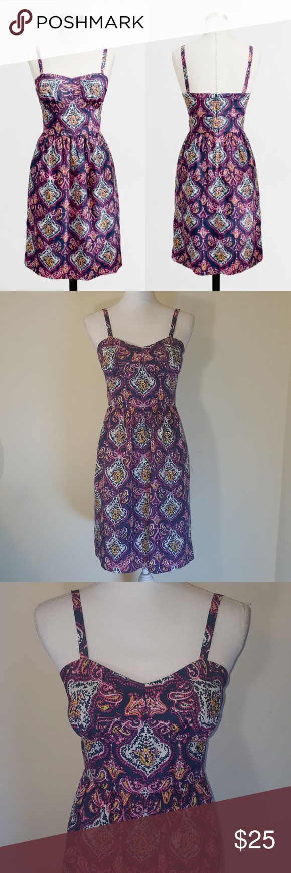 "J. Crew Medallion Tank Dress, NWOT Perfect, vibrant summer dress from J. Crew Factory. Details from the website, ""Poly. Falls above knee. On-seam pockets. Lined. Back zip. Hand wash. Import. Item?81383."" Sold out online. New without tags. J. Crew Dresses"