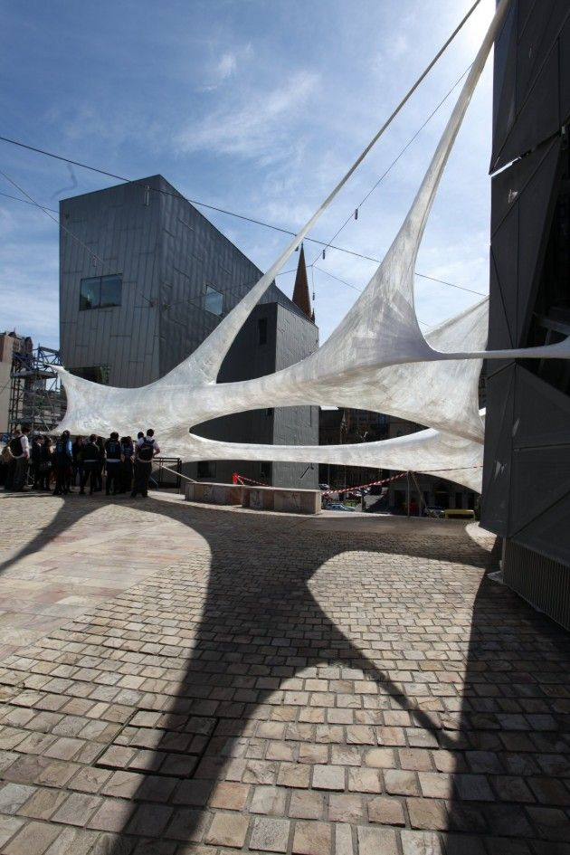 tensile shade element for public space