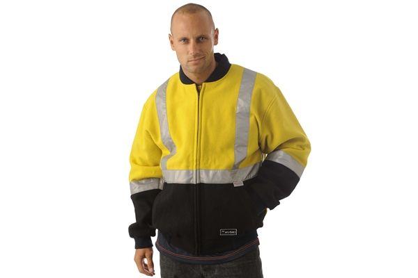 Huski Hi Visibility Wool Blend Jacket Mens Workwear 3M Tape Yellow Navy New