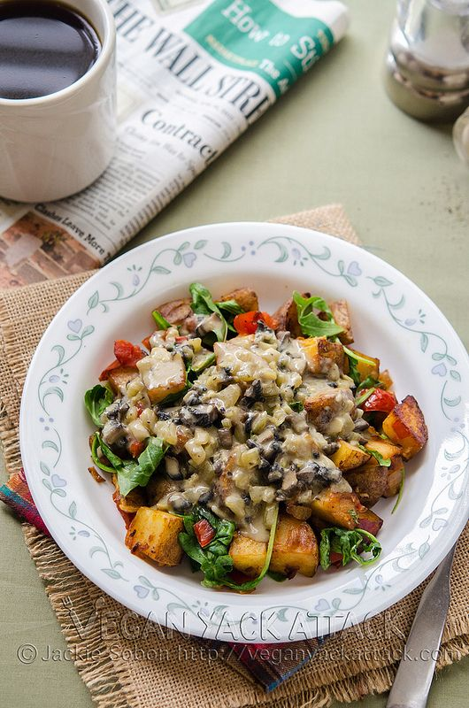 Breakfast is the best because it can be enjoyed at any time of the day, especially when it's a potato hash smothered in mushroom gravy.