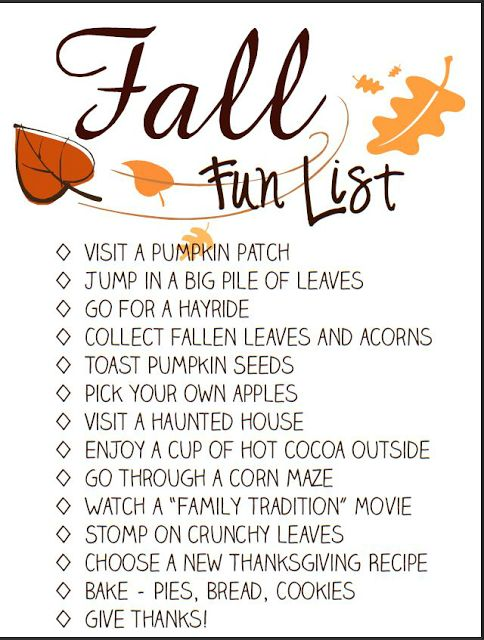 Fall Fun List - A Printable Bucket List for the Whole Family to Enjoy