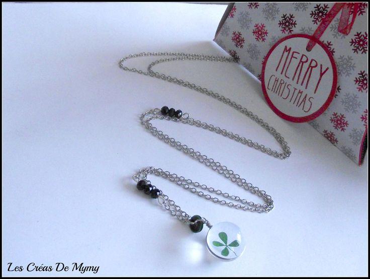 Sautoir Pendentif bulle en Verre Trèfles a 4 Feuilles véritable,perle de cristal noir,argenté ,porte bonheur : Collier par mimibibi