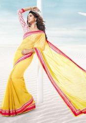 Divine Yellow R Rajkumar Yellow Chiffon Saree
