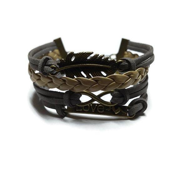 Multi Layered Bracelet Love Charm Bracelet by BriAndAshStore
